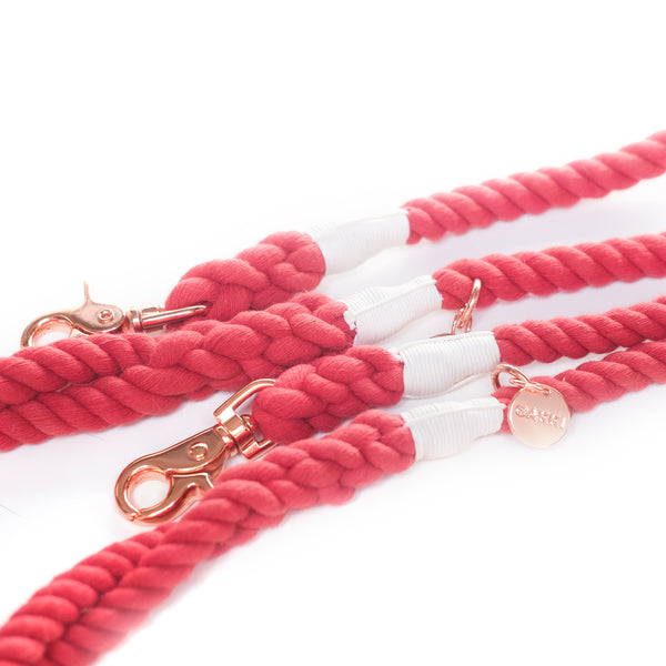 Crimson Cotton Rope Leash