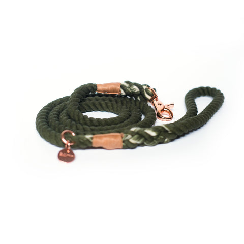 Hunter Green Cotton Rope Leash