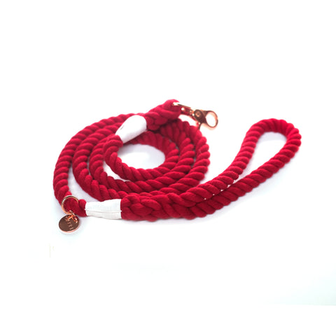 Blood Red Cotton Rope Leash