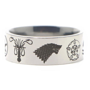Bague Game of Thrones Royaume des Sept Couronnes Argent