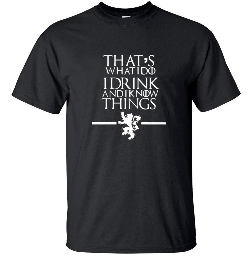 T-Shirt Game of Thrones I Drink And i Know Thing Noir