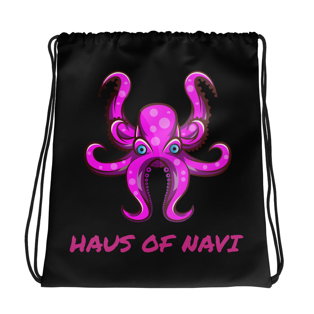 HAUS of NAVI Pink Logo Drawstring bag