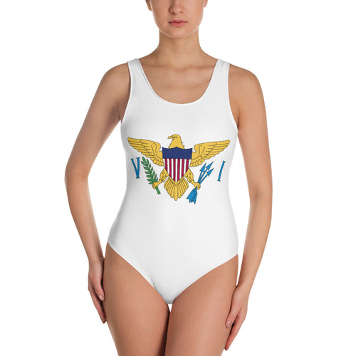 VI Flag White One-Piece Swimsuit