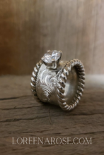 Load image into Gallery viewer, Unique Sterling Silver Western Engagement Ring, Wedding Band, Round Stone, Hand Engraved, Bridal Jewelry, Anniversary Gift For Her, by Loreena Rose