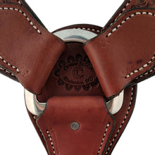 Load image into Gallery viewer, Picture of C&L Chestnut 3 Piece Breast Collar with Bard Wire & Basket Tooling BC000015