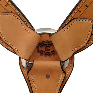 Picture of C&L Natural 3 Piece Breast Collar with Hand Tooled bright Painted Feather Design BC000017