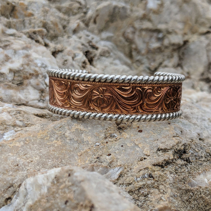 Copper Engraved Western Bracelet Design BRC00012 by Loreena Rose