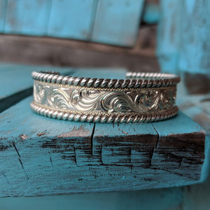 Sterling Silver Engraved Western Bracelet Design BRC00013 by Loreena Rose