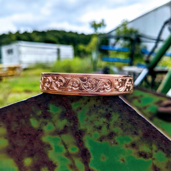 Copper Engraved Western Bracelet, Sterling Silver Rope Edge, Cuff Style, Design BRC00019 by Loreena Rose