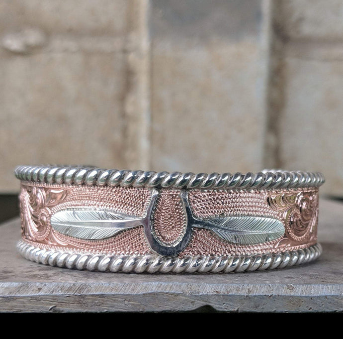 Sterling Silver Engraved Western Bracelet Design BRC00021 by Loreena Rose