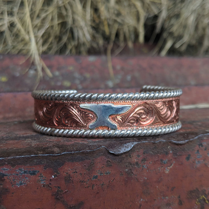 Copper Engraved Western Bracelet Design BRC00022 by Loreena Rose