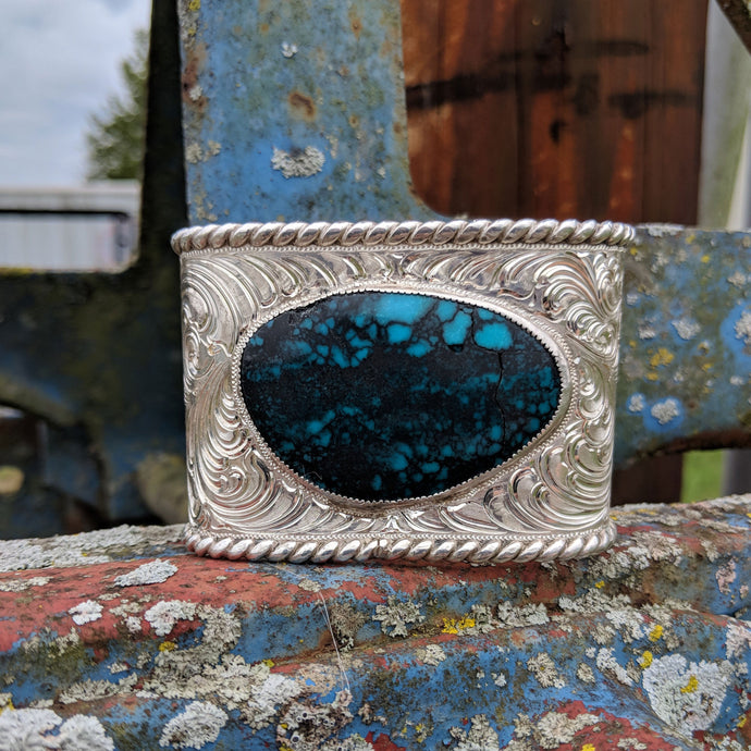 Sterling Silver Turquoise Engraved Western Bracelet Design BRC00023 by Loreena Rose