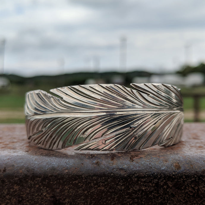 Sterling Silver Feather Engraved Western Bracelet Design BRC00024 by Loreena Rose