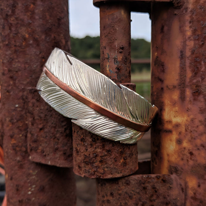 Sterling Silver Feather Engraved Western Bracelet Design BRC00025 by Loreena Rose