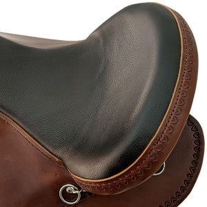 Picture of seat on Crooked Creek Chocolate Western Shawnee Trail with Shell Borders CCS00002