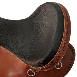 Picture of seat on Crooked Creek Golden Western Shawnee Trail with Shell Borders CCS00003