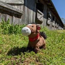 Load image into Gallery viewer, Galloping Trigger Plush Toy Horse Character from the book series The Adventures of Cowboy Cinch & Wrangler Rein