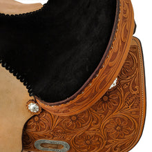 Load image into Gallery viewer, Picture of seat and back of C&L CB Barrel Saddle CLS00016