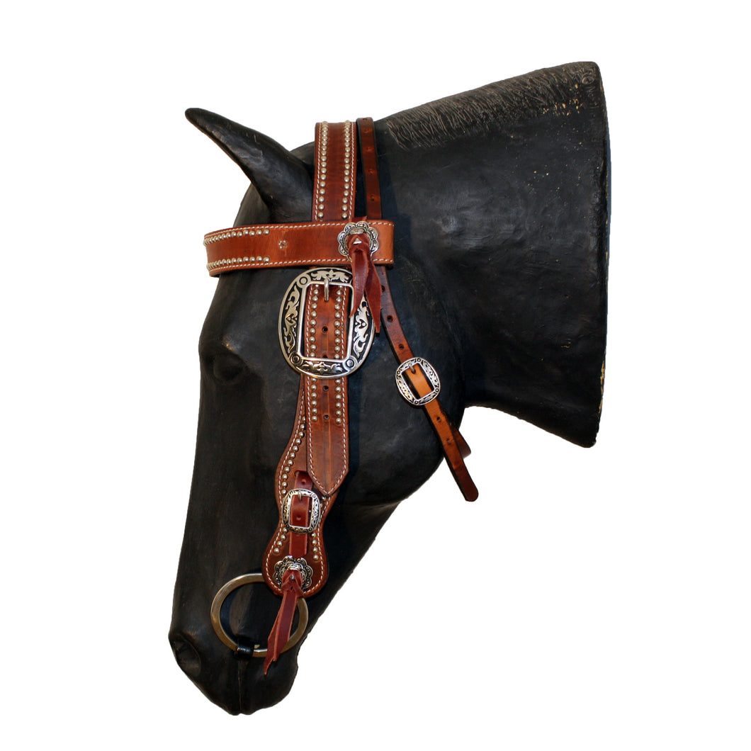 Picture of C&L Spotted Competition Browband Belt Style Headstall Oval Buckle HS000014