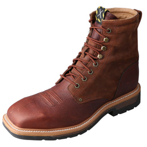 "Picture of front outside of Men's Twisted X Lace Up Safety Toe 8"" Lacer Work Boot MLCSLW1"
