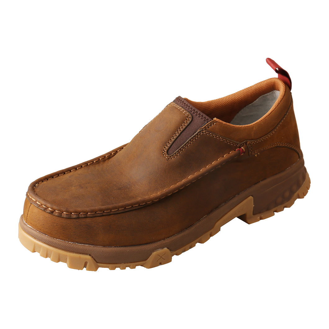 Picture of front outside of Men's Twisted X CellStretch Safety Toe Work Slip-On Driving Moc MXCC003