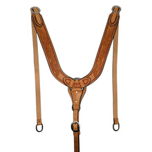 Load image into Gallery viewer, Picture of C&L Feather Tooled Pulling Collar w/oval Stainless Buckles PC000005