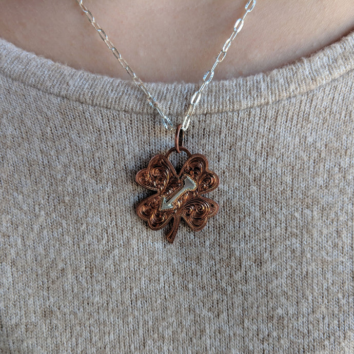 Copper 4-Leaf Clover Engraved with Silver Arrow Overlay Western Pendant Design PND00005 by Loreena Rose