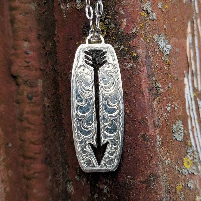 Sterling Silver Cutout Arrow Engraved Western Pendant Design PND00011 by Loreena Rose
