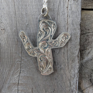 Sterling Silver Cactus Engraved Western Pendant Design PND00013 by Loreena Rose