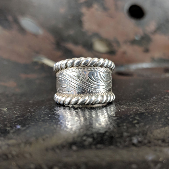 Sterling Silver Engraved Western Ring Design RNG00014 by Loreena Rose