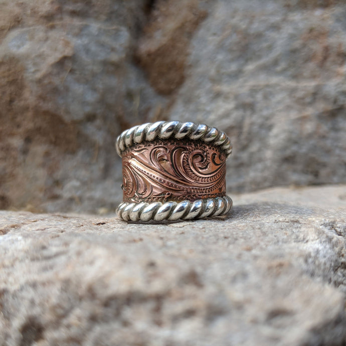 Copper Engraved, Sterling Silver Rope Edge, Western Ring Design RNG00015 by Loreena Rose