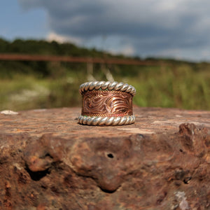 Copper Engraved Western Ring Design RNG00016 by Loreena Rose
