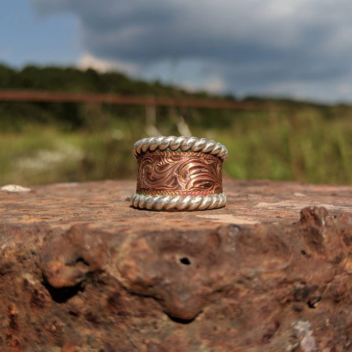 Copper Engraved Western Ring, Western Band Design RNG00016 by Loreena Rose
