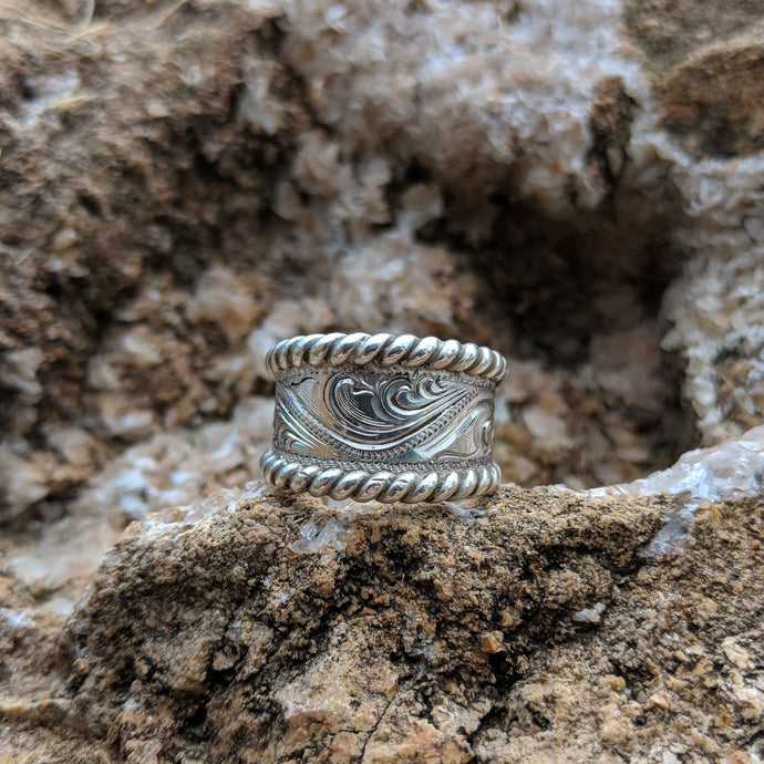 Sterling Silver Engraved Western Ring Design RNG00018 by Loreena Rose