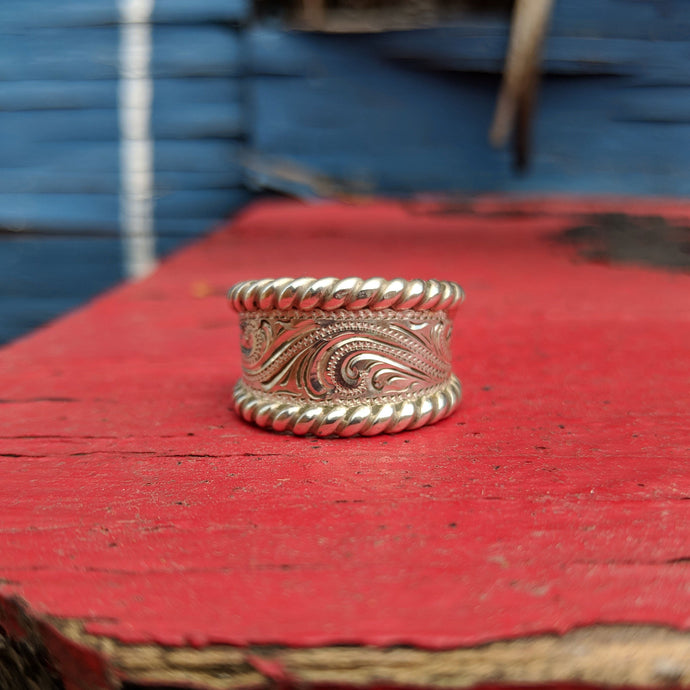 Sterling Silver Engraved Western Ring Design RNG00019 by Loreena Rose