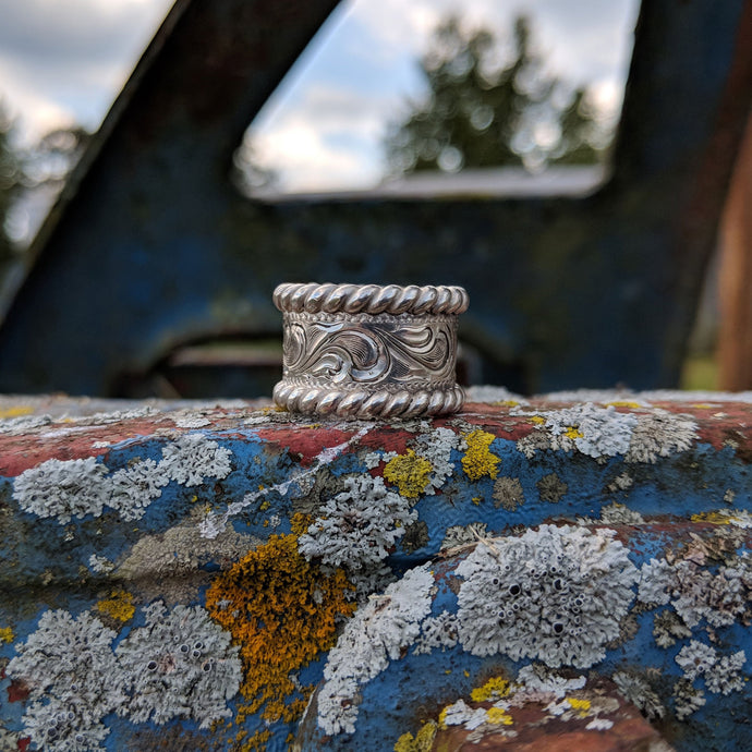 Sterling Silver Engraved Western Ring Design RNG00020 by Loreena Rose