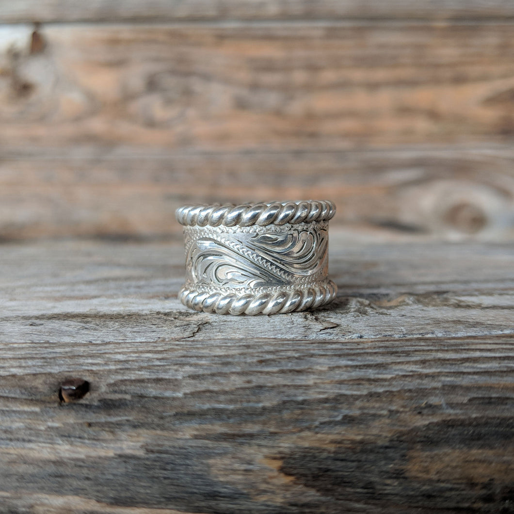 Sterling Silver Engraved Western Ring Design RNG00023 by Loreena Rose