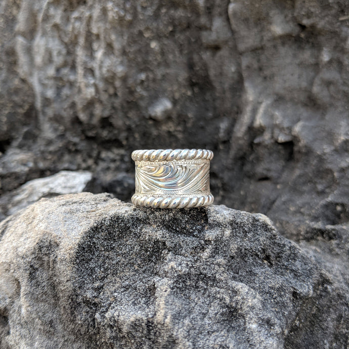 Sterling Silver Engraved Western Ring Design RNG00024 by Loreena Rose