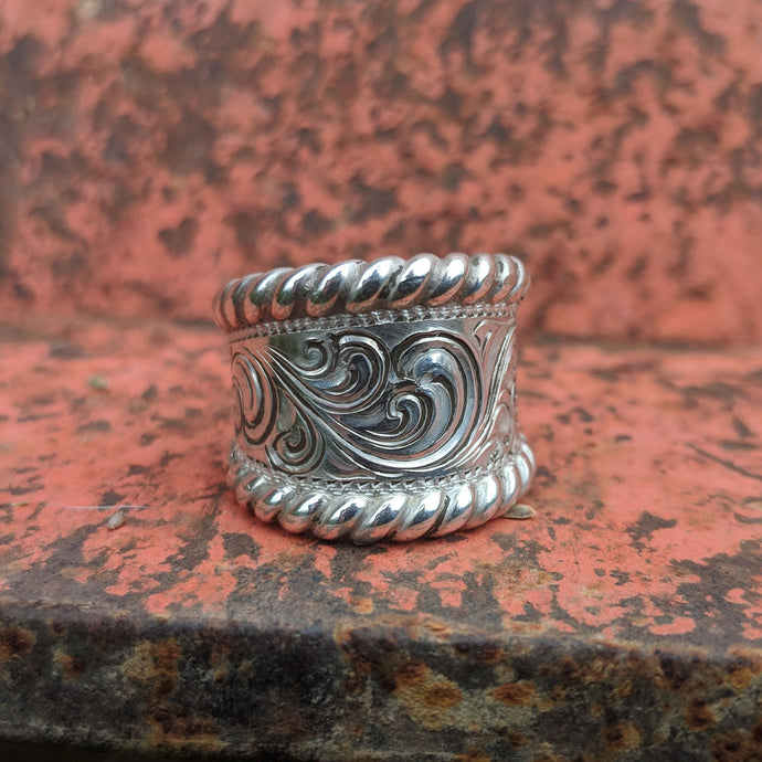 Sterling Silver Engraved Western Ring, For Her, Rope Edge, Design RNG00026 by Loreena Rose