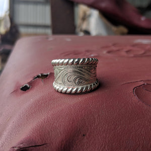 Sterling Silver Engraved Western Ring Design RNG00027 by Loreena Rose