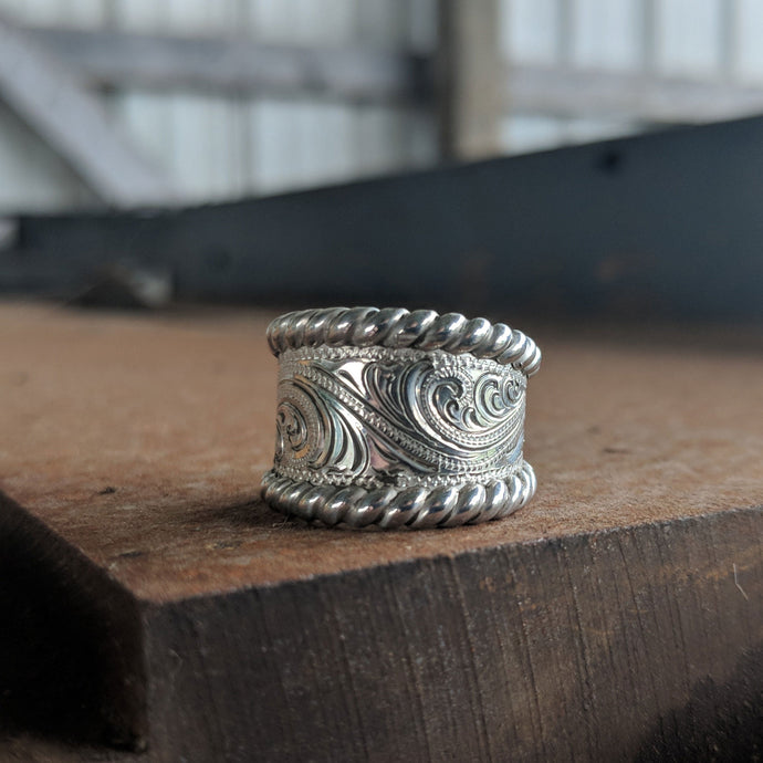 Sterling Silver Engraved Western Ring, Tapered Style, Sterling Silver Rope Edge, For Her, Design RNG00028 by Loreena Rose