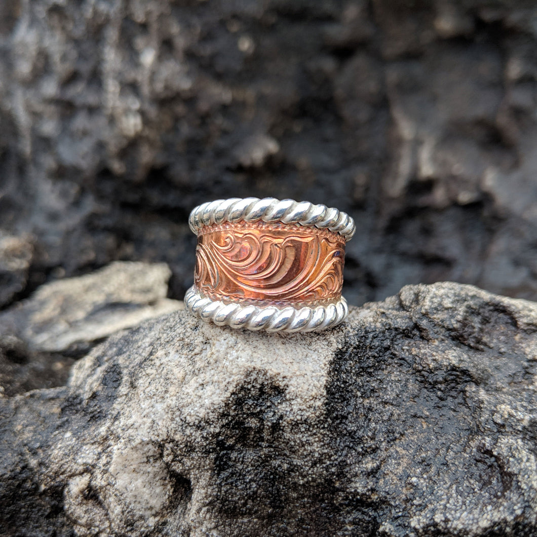 Copper Engraved, Sterling Silver Rope Edge, Western Band Ring Design RNG00031 by Loreena Rose
