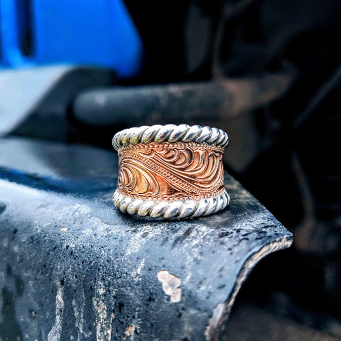 Copper Engraved Western Ring Design RNG00033 by Loreena Rose