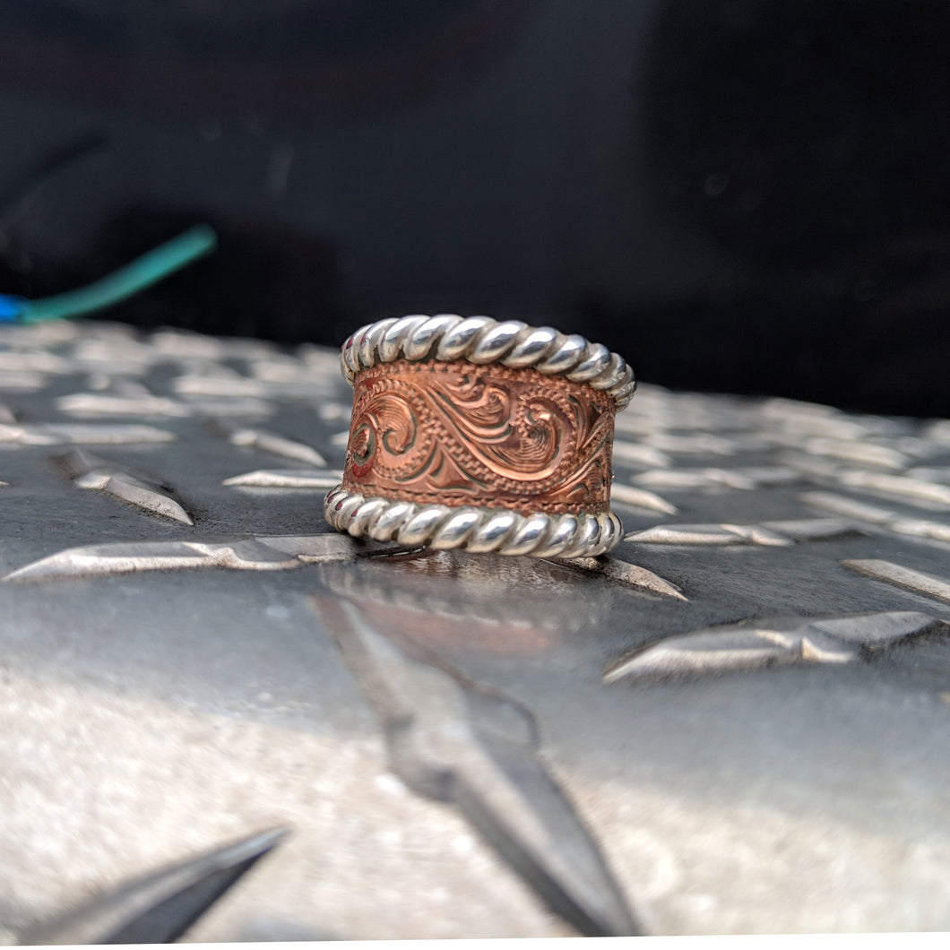 Copper Engraved Western Ring Design RNG00036 by Loreena Rose