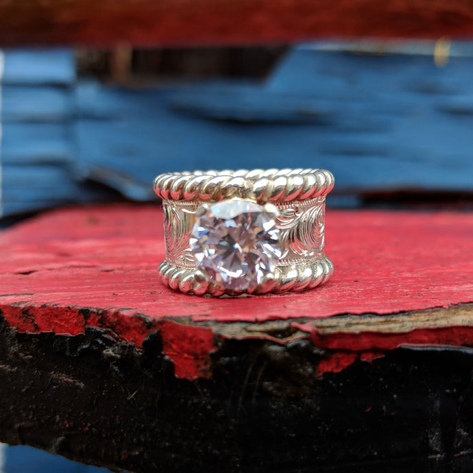 Sterling Silver Engraved Western Engagement Ring Design RNG00037 by Loreena Rose