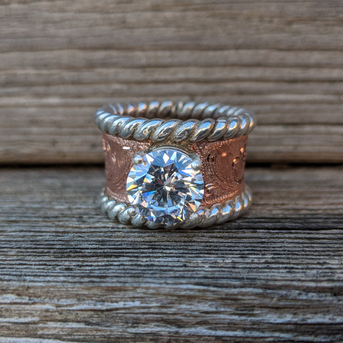 Engagement Ring, Copper Hand Engraved Round Western Wedding Ring, Anniversary Gift For Her, Bridal Jewelry, RNG00042 by Loreena Rose