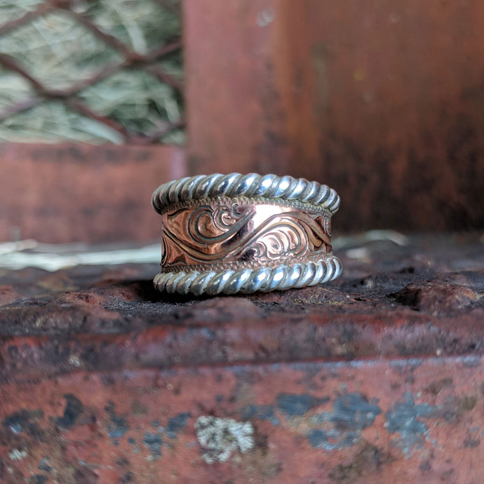 Copper Engraved, Sterling Silver Rope Edge, Western Ring Design RNG00043 by Loreena Rose