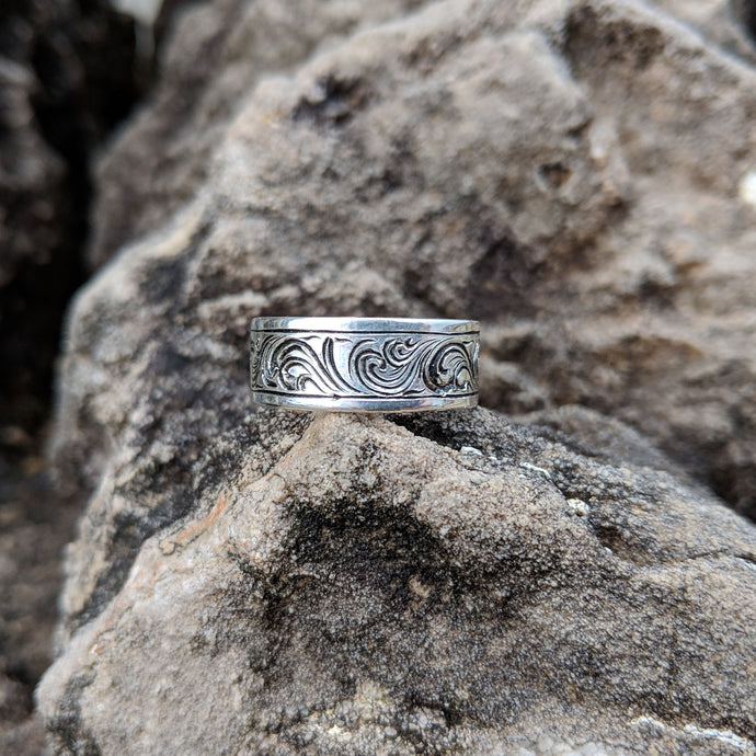 Sterling Silver Engraved Western Band Ring Design RNG00044 by Loreena Rose