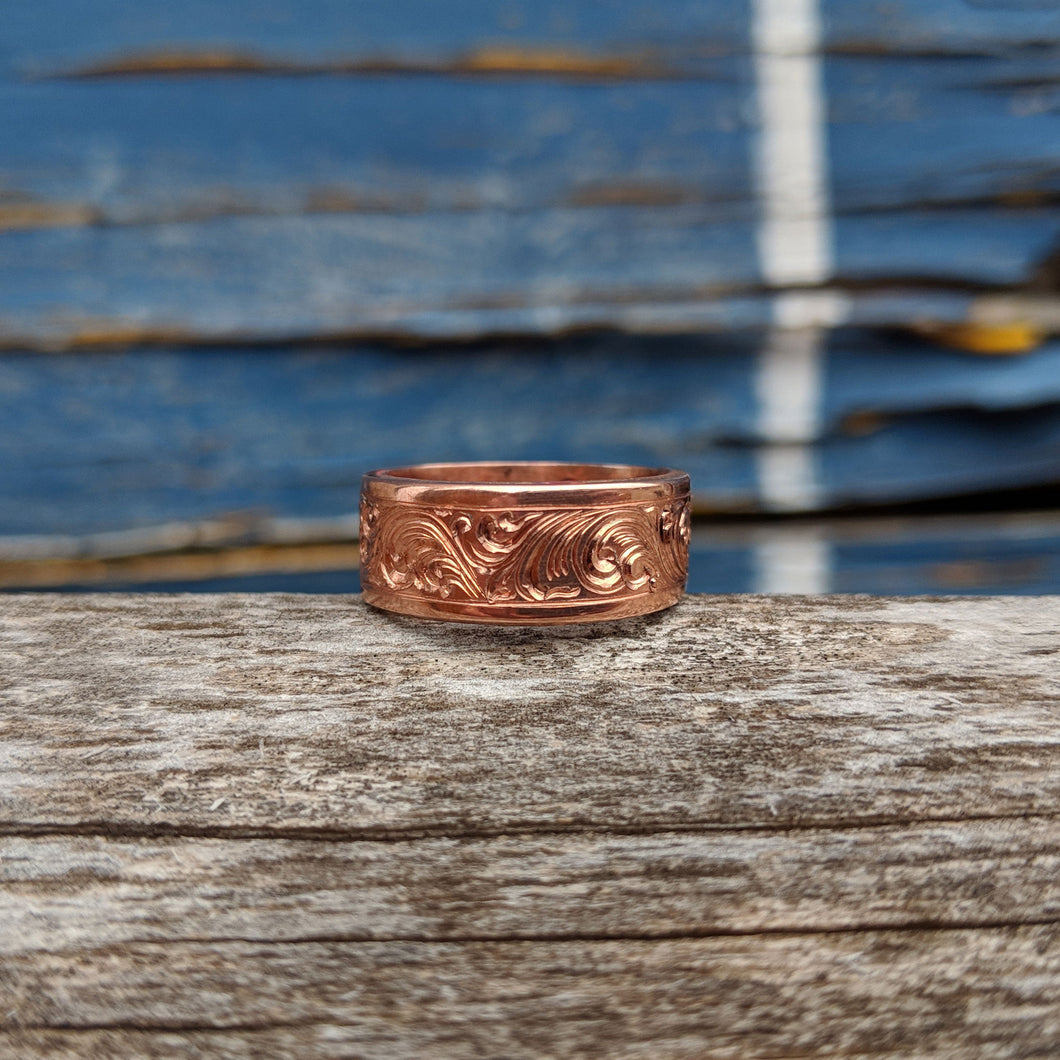 Copper Engraved Western Band Ring Design RNG00045 by Loreena Rose
