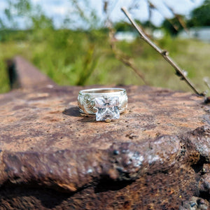 Sterling Silver Engraved Western Square Stone Engagement Ring Design RNG00047 by Loreena Rose